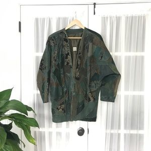 Vintage Muzo Leather & Silk Embroidered Quilt Coat